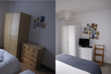 Before and after photo of the bedroom